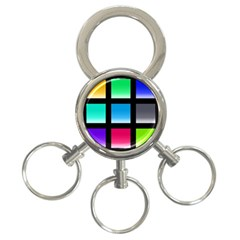Colorful Background Squares 3-Ring Key Chains