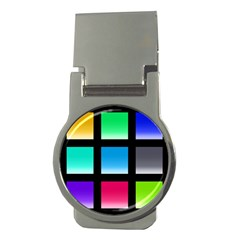 Colorful Background Squares Money Clips (Round)