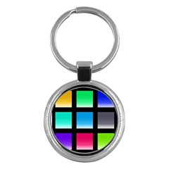 Colorful Background Squares Key Chains (Round)