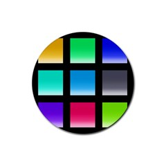 Colorful Background Squares Rubber Round Coaster (4 pack)