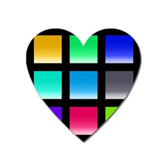 Colorful Background Squares Heart Magnet