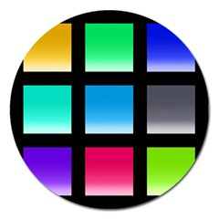 Colorful Background Squares Magnet 5  (Round)