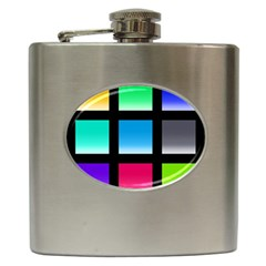 Colorful Background Squares Hip Flask (6 oz)