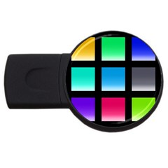 Colorful Background Squares Usb Flash Drive Round (2 Gb)
