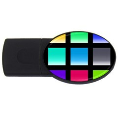 Colorful Background Squares USB Flash Drive Oval (1 GB)
