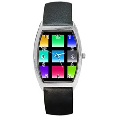 Colorful Background Squares Barrel Style Metal Watch