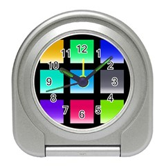 Colorful Background Squares Travel Alarm Clocks