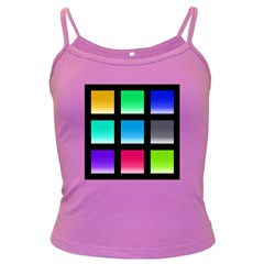 Colorful Background Squares Dark Spaghetti Tank