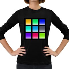Colorful Background Squares Women s Long Sleeve Dark T-Shirts