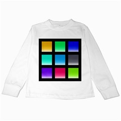 Colorful Background Squares Kids Long Sleeve T-Shirts