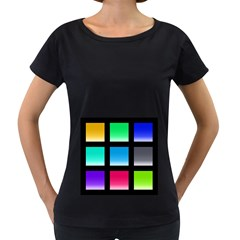 Colorful Background Squares Women s Loose Fit T Shirt (black)