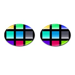 Colorful Background Squares Cufflinks (oval)