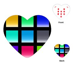 Colorful Background Squares Playing Cards (Heart)