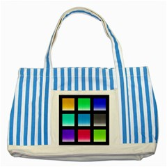 Colorful Background Squares Striped Blue Tote Bag