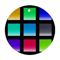 Colorful Background Squares Round Ornament (two Sides)