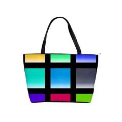 Colorful Background Squares Shoulder Handbags