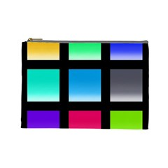 Colorful Background Squares Cosmetic Bag (large)
