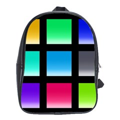 Colorful Background Squares School Bags(large)