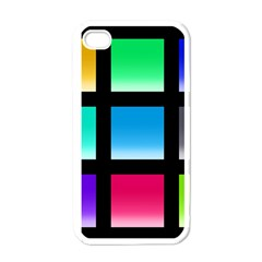 Colorful Background Squares Apple iPhone 4 Case (White)