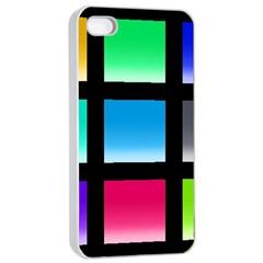 Colorful Background Squares Apple iPhone 4/4s Seamless Case (White)