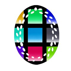 Colorful Background Squares Ornament (Oval Filigree)