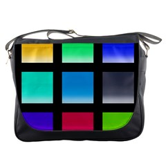 Colorful Background Squares Messenger Bags