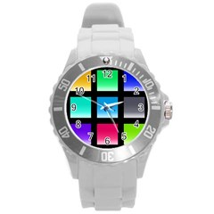 Colorful Background Squares Round Plastic Sport Watch (l)
