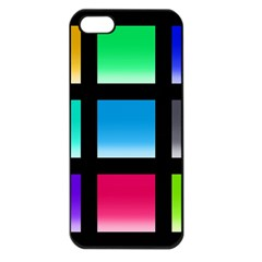 Colorful Background Squares Apple iPhone 5 Seamless Case (Black)