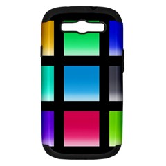 Colorful Background Squares Samsung Galaxy S III Hardshell Case (PC+Silicone)