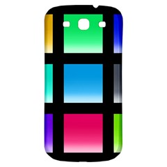 Colorful Background Squares Samsung Galaxy S3 S III Classic Hardshell Back Case