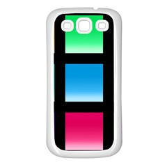 Colorful Background Squares Samsung Galaxy S3 Back Case (White)