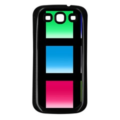 Colorful Background Squares Samsung Galaxy S3 Back Case (black)