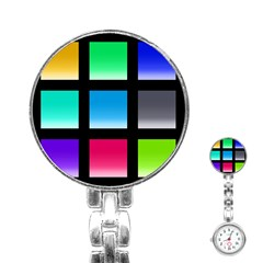 Colorful Background Squares Stainless Steel Nurses Watch