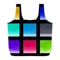 Colorful Background Squares Full Print Recycle Bags (L)