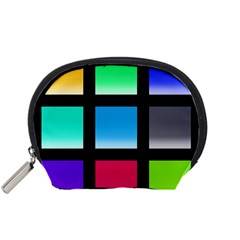 Colorful Background Squares Accessory Pouches (Small)