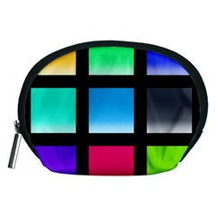 Colorful Background Squares Accessory Pouches (Medium)