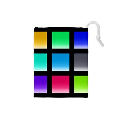 Colorful Background Squares Drawstring Pouches (small)