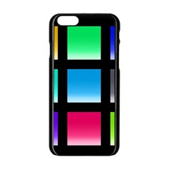 Colorful Background Squares Apple iPhone 6/6S Black Enamel Case