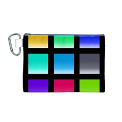 Colorful Background Squares Canvas Cosmetic Bag (m)