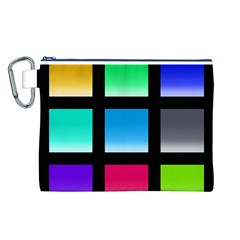 Colorful Background Squares Canvas Cosmetic Bag (L)