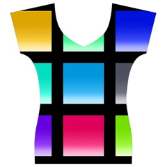Colorful Background Squares Women s V-Neck Cap Sleeve Top