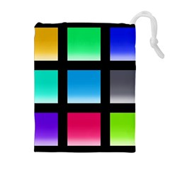 Colorful Background Squares Drawstring Pouches (extra Large)
