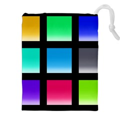 Colorful Background Squares Drawstring Pouches (XXL)