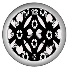 Abstract Background Pattern Wall Clocks (silver)