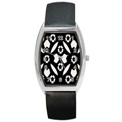 Abstract Background Pattern Barrel Style Metal Watch