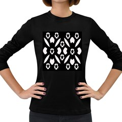 Abstract Background Pattern Women s Long Sleeve Dark T Shirts