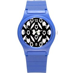 Abstract Background Pattern Round Plastic Sport Watch (S)