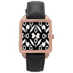 Abstract Background Pattern Rose Gold Leather Watch