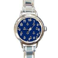 Gold Anchors On Blue Background Pattern Round Italian Charm Watch
