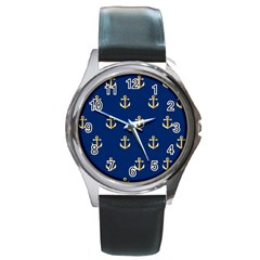 Gold Anchors On Blue Background Pattern Round Metal Watch